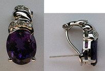 14kt White Gold Amethyst Earrings with Diamonds