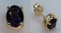 1.96ct Amethyst Earrings set in 14kt Yellow Gold
