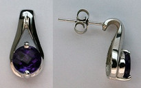 14kt White Gold Amethyst Earrings with 1.5ct Gemstone