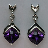 2.7ct Amethyst Gemstone Earrings in 14kt White Gold