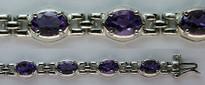 14kt White Gold Amethyst Gemstone Bracelet