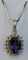 14kt White Gold Oval Amethyst Pendant with Diamonds