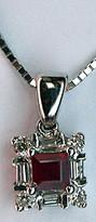 Ruby & Diamond Pendant set in 14k White Gold