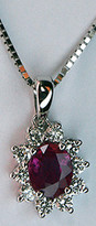 18k White Gold Ruby Pendant with 10 Diamonds