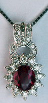 18k White Gold Ruby Pendant with 23 Diamonds