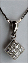 "1/4 ct Diamond ""Invisible Set"" Pendant w/ Chain"