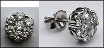 .75ct Diamond Stud Cluster Earrings