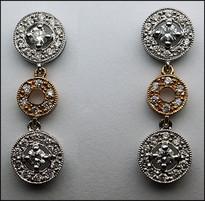 2 Tone Diamond Earrings (Hanging/Dangling)