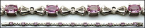 Oval Pink Sapphire Bracelet in White Gold