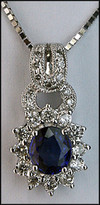 Sapphire and Diamond Pendant - 18kt White