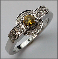 14kt White Gold Yellow Sapphire and Diamond Ring