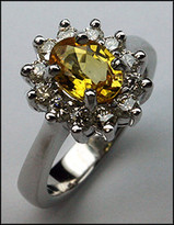 Yellow Sapphire Ring with 3/4ct Diamond