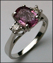 Pink Sapphire 3 Stone Ring with Diamonds