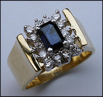 14kt Diamond and Sapphire Ring with 14 Diamonds