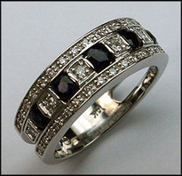 14kt White Gold Sapphire Band with Diamonds