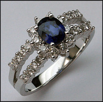 .91ct Sapphire Ring w/ Diamonds (F Color, VS1)