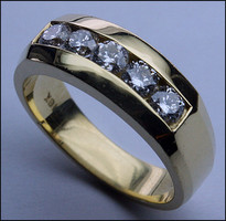 Yellow Gold Men's Ring, Channel Set 14k Gold