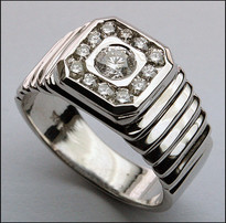 14kt White Gold Diamond Ring for Men - .60ct Total Weight