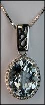 Aquamarine Pendant, 14kt Aquamarine & Diamonds