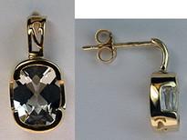 14k Yellow Dangling Aquamarine Earrings