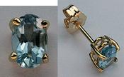 Oval Aquamarine Studs 14k Yellow Gold Stud Earrings