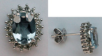 Aquamarine Diamond Earrings - 1.22ct Aquamarine 14kt