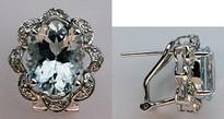 14kt Aquamarine Earrings in White Gold - 4.89ct Aquamarine