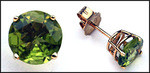 Round Peridot & Gold Stud Earrings