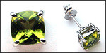 Peridot Gemstone Studs in White Gold / 2.2ct
