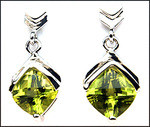 Dangling White Gold Peridot Gemstone Earrings