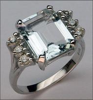 Aquamarine Ring with Diamonds - 14kt, Aquamarine Jewelry