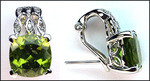 14k White Gold Peridot Clip Back Earrings