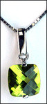 Peridot and White Gold Slide Pendant