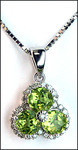 3 Stone Peridot & Diamond Pendant