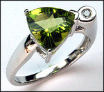 Trillian Shaped Peridot 2.4ct & Diamond Ring