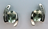 2.10ct Green Amethyst & Diamond Stud Earrings