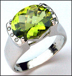 Peridot and Diamond Ring, 5.1ct Gemstone