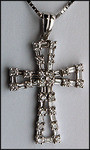 18kt Round and Baguette Diamond Cross - .71ct Diamond