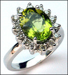 2.26 Peridot White Gold Ring, 1/2ct Diamond