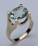 4.0ct Green Amethyst Solitaire Ring
