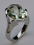 3.6ct Green Amethyst White Gold Ring