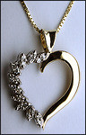 14kt Yellow Heart Pendant with Diamonds