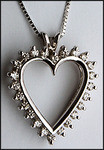 14kt Open Heart Diamond Pendant, 24 Diamonds