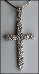 18kt White Gold Diamond Cross, 1.01ct Diamond Prong Set