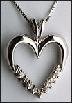 1/3ct, White Gold Diamond Heart Pendant, 11 Diamonds