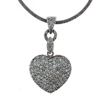 18kt Pave Diamond Heart Pendant, 4.05ct Diamond
