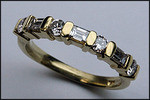 14kt Yellow Round and Baguette Diamond Band