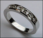 1/2ct Ladies Diamond Wedding Band, 7 Diamonds Channel Set