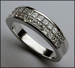 18kt White Gold Invisible Set, Princess Cut, Diamond Wedding Band