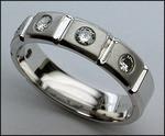 1/2ct Mens Diamond Wedding Band, 14kt White Gold